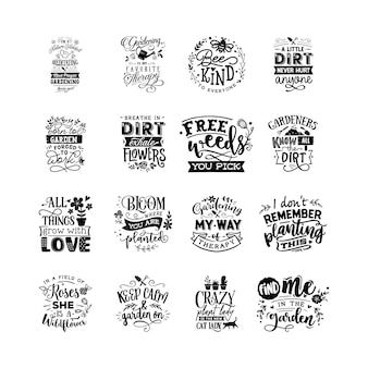 Letras de tipografia de citações de jardinagem para o design de camisetas