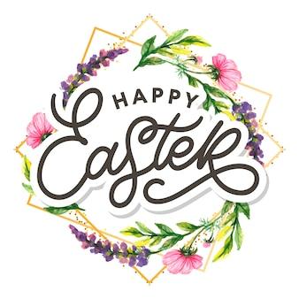Letras de tipografia de mão feliz páscoa em guirlanda floral