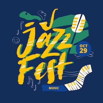 Letras de título de cartaz de festival de música jazz