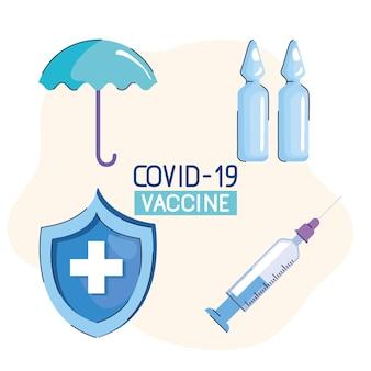 Letras de vacina com ilustração de quatro ícones