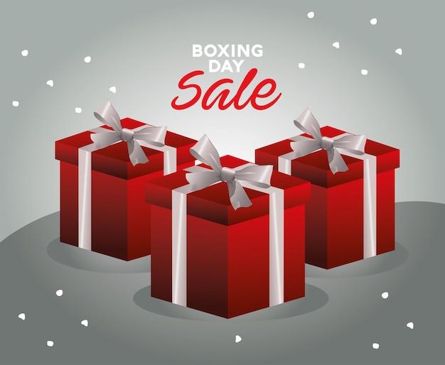 Letras de venda de boxing day com ilustração de caixas de presentes