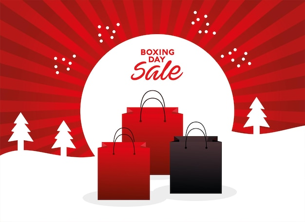 Letras de venda de boxing day com sacolas de compras na ilustração de paisagem de neve