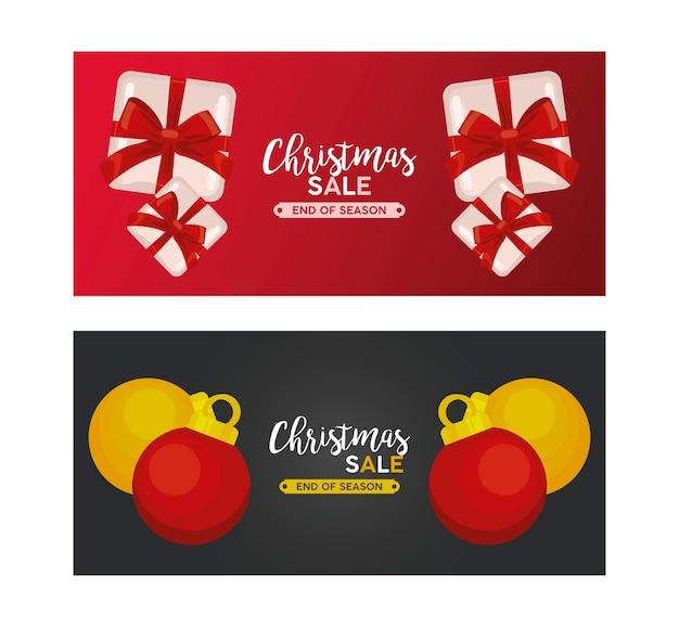Letras de venda de feliz natal com ilustração de presentes e bolas