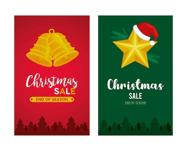 Letras de venda de feliz natal com sinos pendurados e ilustração de estrelas