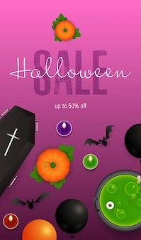 Letras de venda de halloween, morcegos, abóboras e poção no caldeirão