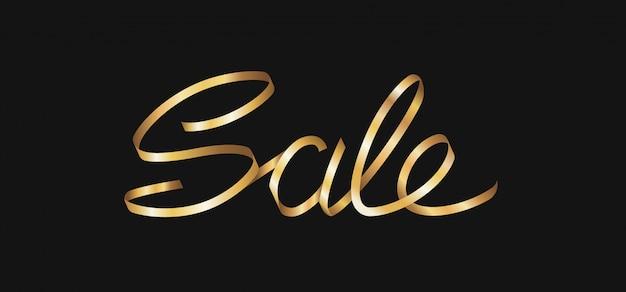 Letras de venda de luxo dourado da fita