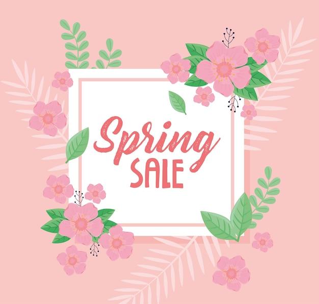 Letras de venda de primavera com flores cor de rosa em ilustração de moldura quadrada