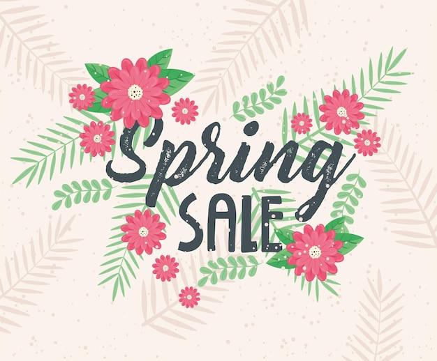 Letras de venda de primavera com ilustração de jardim de flores vermelhas
