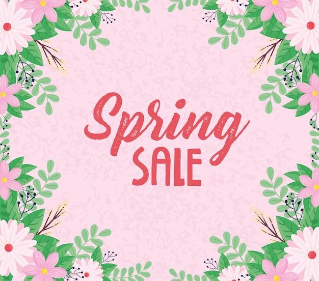 Letras de venda de primavera com ilustração de quadro de flores rosa