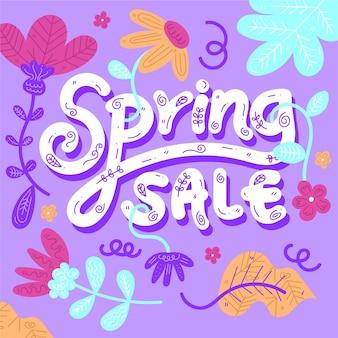 Letras de venda de primavera de design plano