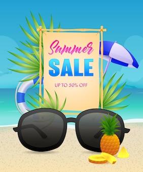 Letras de venda de verão com bóias de vida e óculos de sol