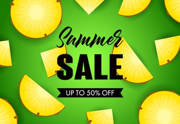 Letras de venda de verão com fatias de abacaxi