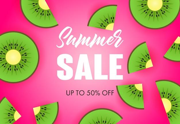 Letras de venda de verão com fatias de kiwi
