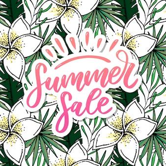Letras de venda de verão com flores e folhas