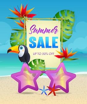 Letras de venda de verão com pássaros exóticos e flores