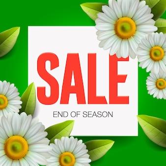 Letras de venda de verão e margarida realista de buquê, flores de camomila sobre fundo verde, compras online, loja, cartaz publicitário, ilustração.