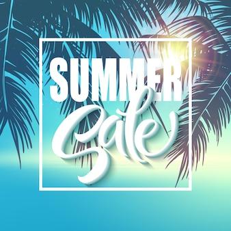 Letras de venda de verão em fundo azul