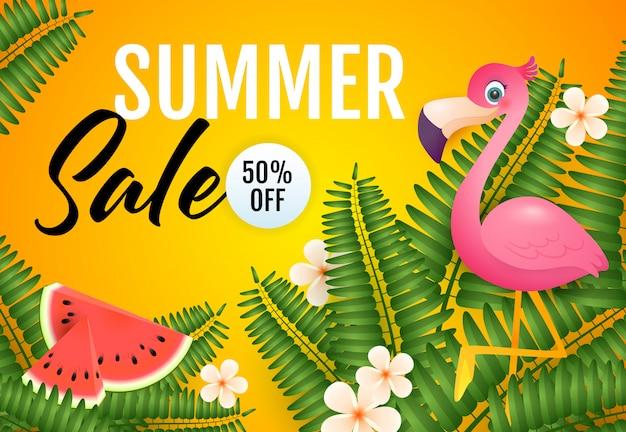 Letras de venda de verão, flamingo, melancia e plantas