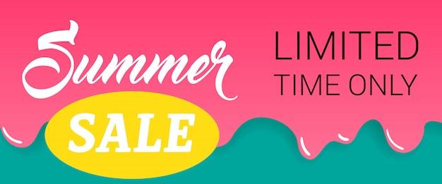 Letras de venda de verão na pintura a pingar. oferta de verão ou publicidade de venda