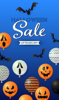 Letras de venda do dia das bruxas, balões de fantasma e morcegos