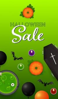 Letras de venda do dia das bruxas com abóboras, caixão e poção