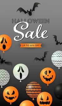 Letras de venda do dia das bruxas com morcegos e balões de abóbora