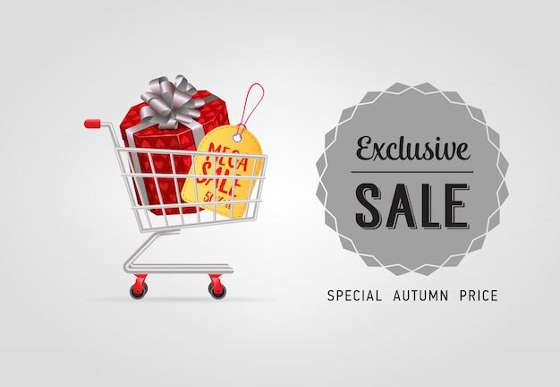 Letras de venda exclusiva com caixa de presente no carrinho de compras