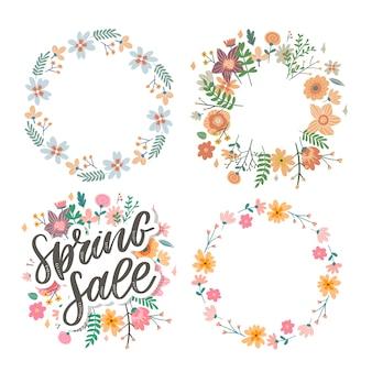 Letras de venda primavera em uma grinalda floral e conjunto de quadros