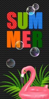 Letras de verão com anel de natação em forma de flamingo. oferta de verão