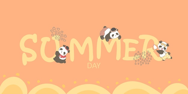 Letras de verão com bebês pandas fofos pendurados, desenho ilustração em fundo laranja