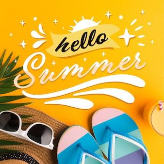 Letras de verão com chinelos e óculos de sol