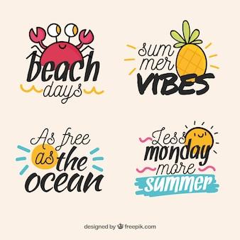 Letras de verão com estilo desenhado de mão