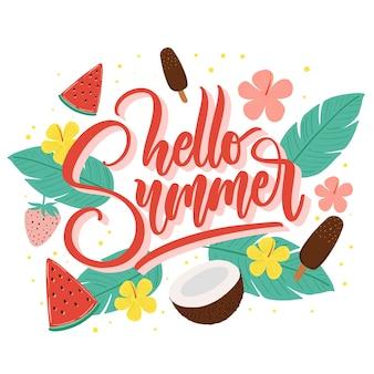 Letras de verão com flores