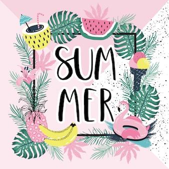 Letras de verão com folhas de flamingo e palma.
