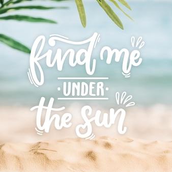 Letras de verão com foto de praia
