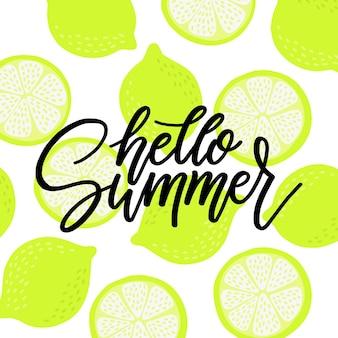 Letras de verão com frutas cítricas