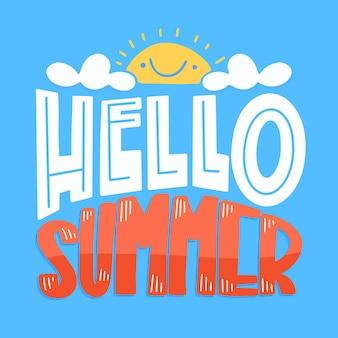 Letras de verão com sol e nuvens