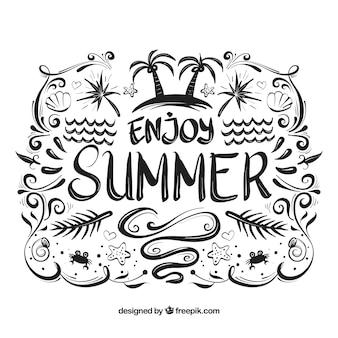 Letras de verão com tinta preta