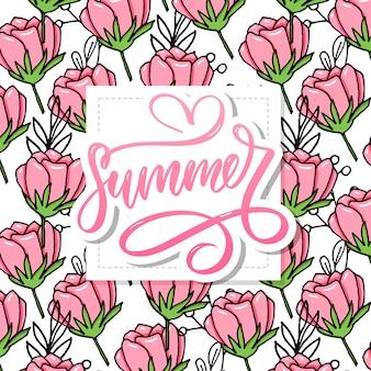 Letras de verão feitas de flores e folhas