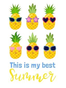Letras de verão. frases brilhantes sobre o verão, o sol e as férias. a caligrafia desenhada à mão é ideal para folhetos, cartões postais, etiquetas e designs exclusivos. vetor Vetor Premium