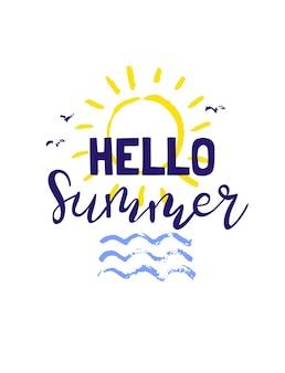 Letras de verão. frases brilhantes sobre o verão, o sol e as férias. a caligrafia desenhada à mão é ideal para folhetos, cartões postais, etiquetas e designs exclusivos. vetor