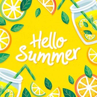 Letras de verão olá desenhadas à mão Vetor grátis