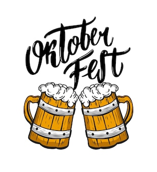Letras de vetor de mão desenhada oktoberfest. caligrafia de escova moderna de cerveja. isolado