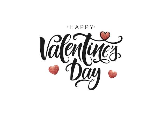 Letras de vetor feliz dia dos namorados. modelo de cartão de escritos à mão para o dia dos namorados.