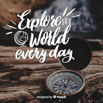 Letras de viagem com citação e imagem