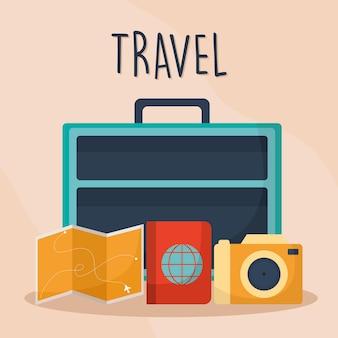 Letras de viagem com mala com uma cor azul e ícones de mapa, passaporte e câmera