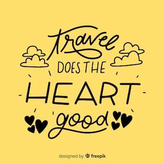 Letras de viagem criativa com citação