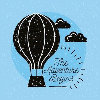 Letras de viagens com mosca de balão
