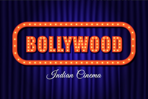 Letras de vintage de cinema indiano de bollywood