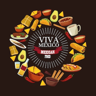 Letras de viva mexico e comida mexicana com menu ao redor.
